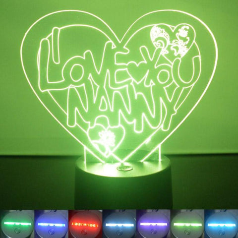I Love You Nanny Heart Colour Changing LED Acrylic Light - Suave Petal
