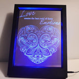 Dotty Emotions Heart & Quote Colour Changing RC LED Mirror Light Frame - Suave Petal