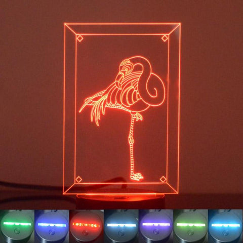 Single Flamingo Colour Changing LED Acrylic Light - Suave Petal