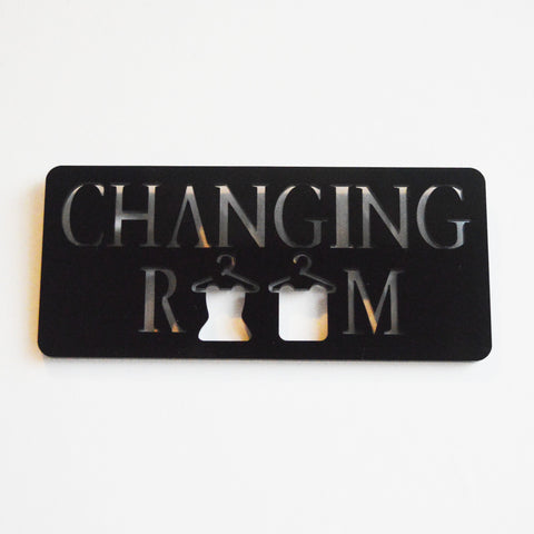Changing Room with Hanging Clothes Acrylic Black Door Sign - Suave Petal