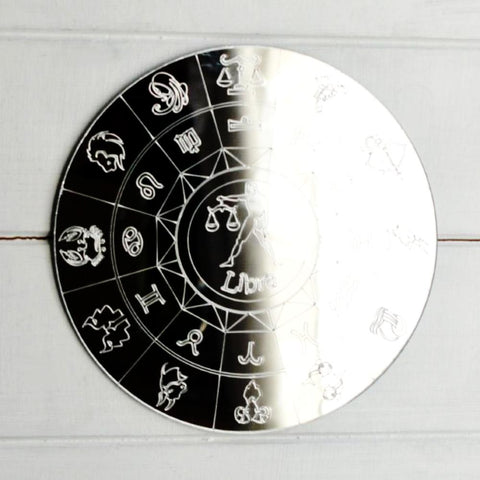 Zodiac Horoscope Circle Engraved Acrylic Mirror - Libra
