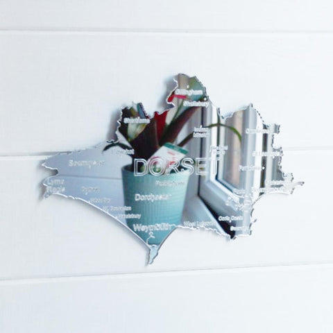 County Map of DORSET UK Engraved Acrylic Mirror