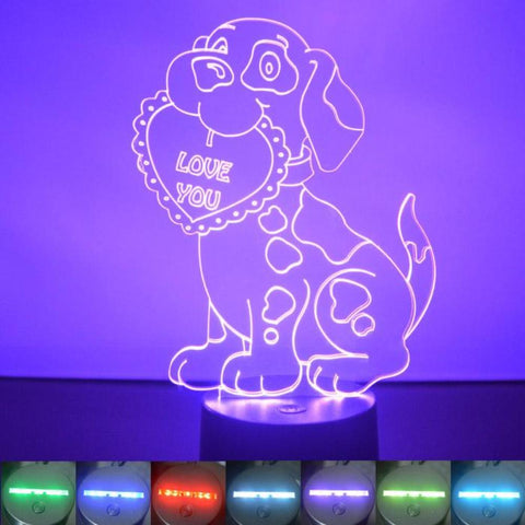 I Love You Puppy and Heart Colour Changing LED Acrylic Light - Suave Petal