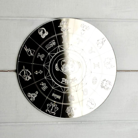 Zodiac Horoscope Circle Engraved Acrylic Mirror - Pisces