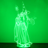 Wizard with Staff LED Acrylic Light - Suave Petal