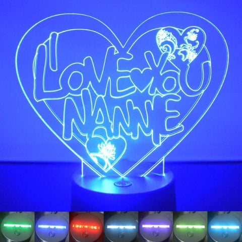 I Love You Nannie Heart Colour Changing LED Acrylic Light - Suave Petal