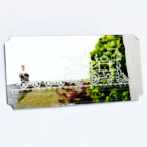 Steam Train Rectangle Acrylic Mirror - Suave Petal