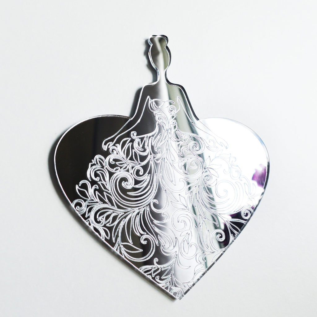 Floral Lady Dress on Heart Acrylic Mirror - Suave Petal