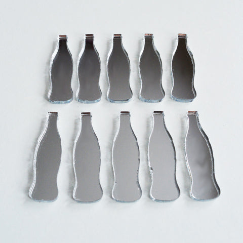 Cola Bottle Mini Craft Sized Acrylic Mirrors (10Pk)