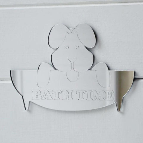 Doggy Bath Time Engraved Acrylic Mirror Door or Wall Sign - Suave Petal
