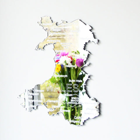 Country Map of  WALES UK Engraved Acrylic Mirror - Suave Petal