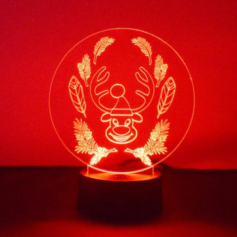 Funny Happy Circle Reindeer LED Acrylic Light - Suave Petal