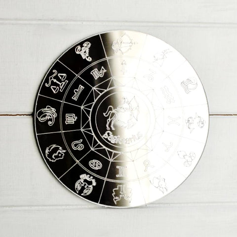Zodiac Horoscope Circle Engraved Acrylic Mirror - Sagittarius