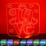 Love Word & Hearts Square Colour Changing LED Acrylic Light - Suave Petal