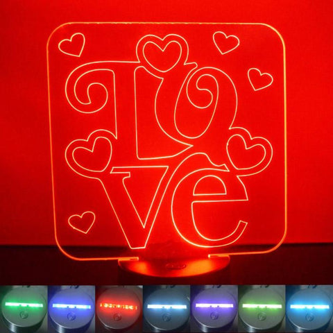 Love Word & Hearts Square Colour Changing LED Acrylic Light