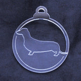 Dog Bauble Clear Acrylic Christmas Decorations 6pk - Dachshund Sausage Dog - Suave Petal