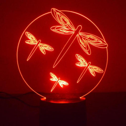 Dragonfly Circle Colour Changing LED Acrylic Light - Suave Petal