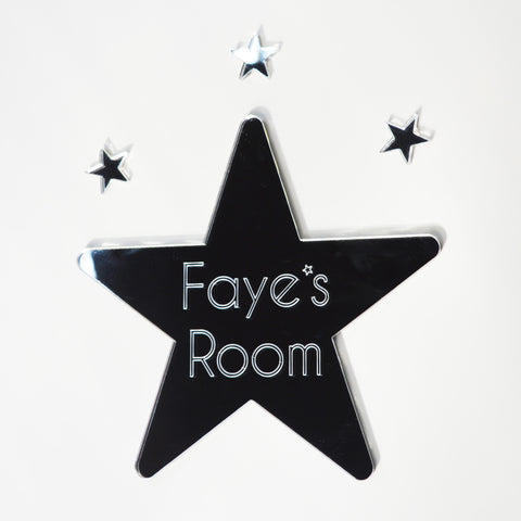 Rounded Star Personalized Door or Wall Acrylic Mirror Sign - Suave Petal