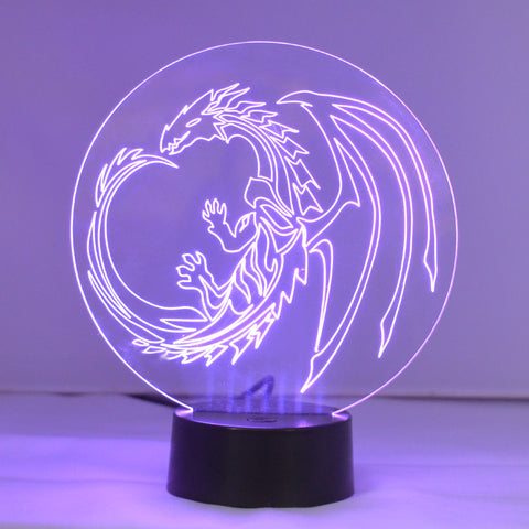 Dragon Circle Colour Changing LED Acrylic Light - Suave Petal
