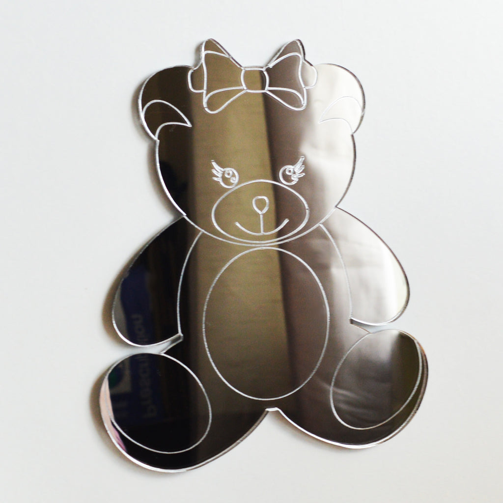 Mrs Bear with Bow Acrylic Mirror - Suave Petal