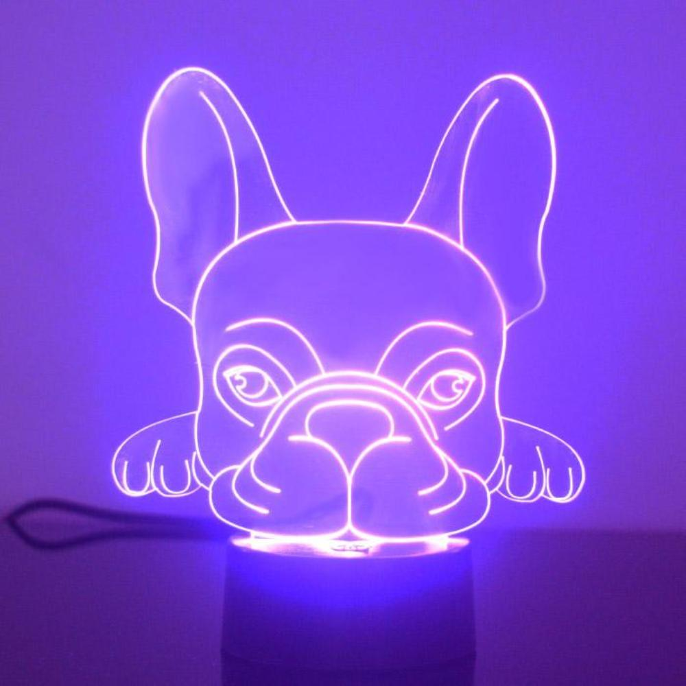 French Bulldog Face Colour Changing LED Acrylic Light - Suave Petal