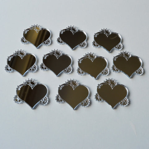 Steampunk Steam Cog and Gears Heart Mini Craft Sized Acrylic Mirrors (10Pk) - Suave Petal