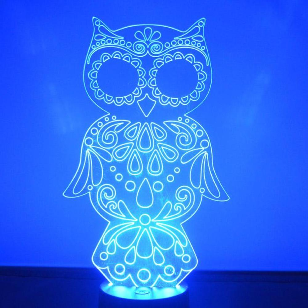 Decorative Owl Colour Changing LED Acrylic Light - Suave Petal