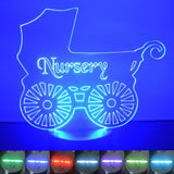 Nursery Old Baby Pram Colour Changing LED Acrylic Light - Suave Petal