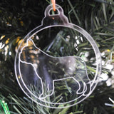 Dog Bauble Clear Acrylic Christmas Decorations 6pk -  French Bulldog Side - Suave Petal