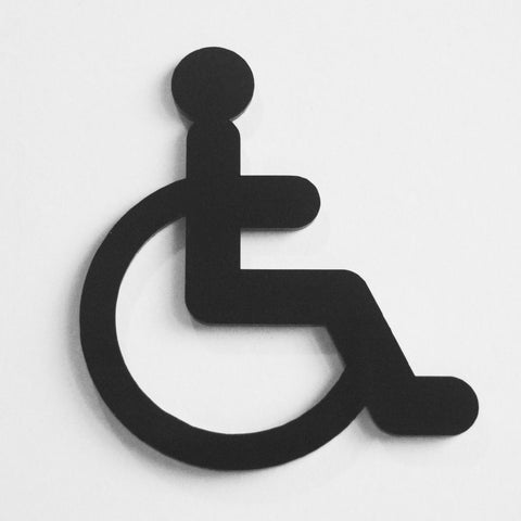 Disabled Wheelchair Door Sign in Black Acrylic - Suave Petal