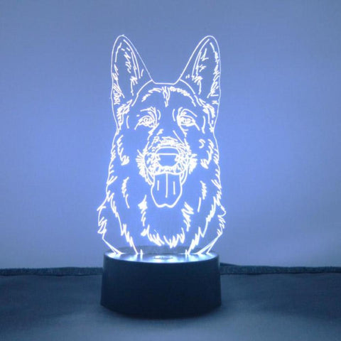 German Shepherd Dog Head LED Acrylic Light - Suave Petal