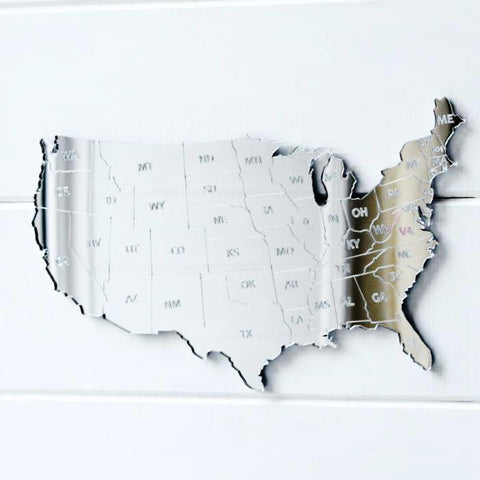 Mainland USA America States Map Engraved Acrylic Mirror - Suave Petal