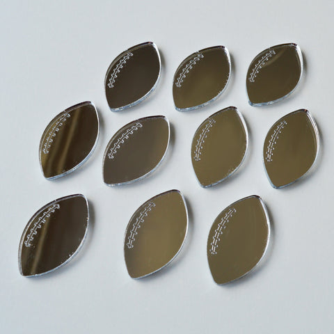 Rugby Ball Mini Craft Sized Acrylic Mirrors (10Pk) - Suave Petal