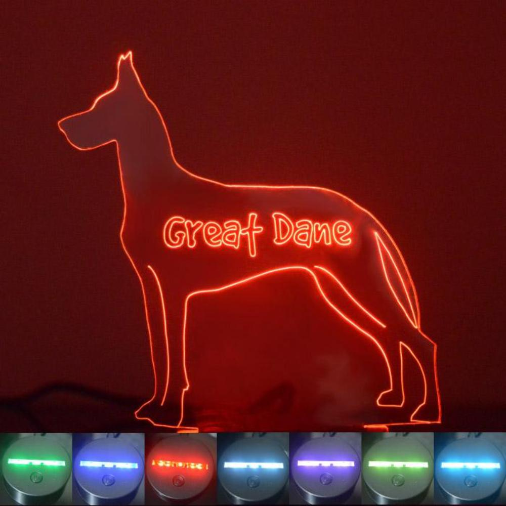 Great Dane Dog Colour Changing LED Acrylic Light - Suave Petal