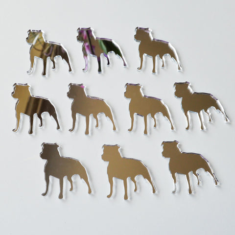 Staffordshire Bull Terrier Dog Mini Craft Sized Acrylic Mirrors (10Pk) - Suave Petal