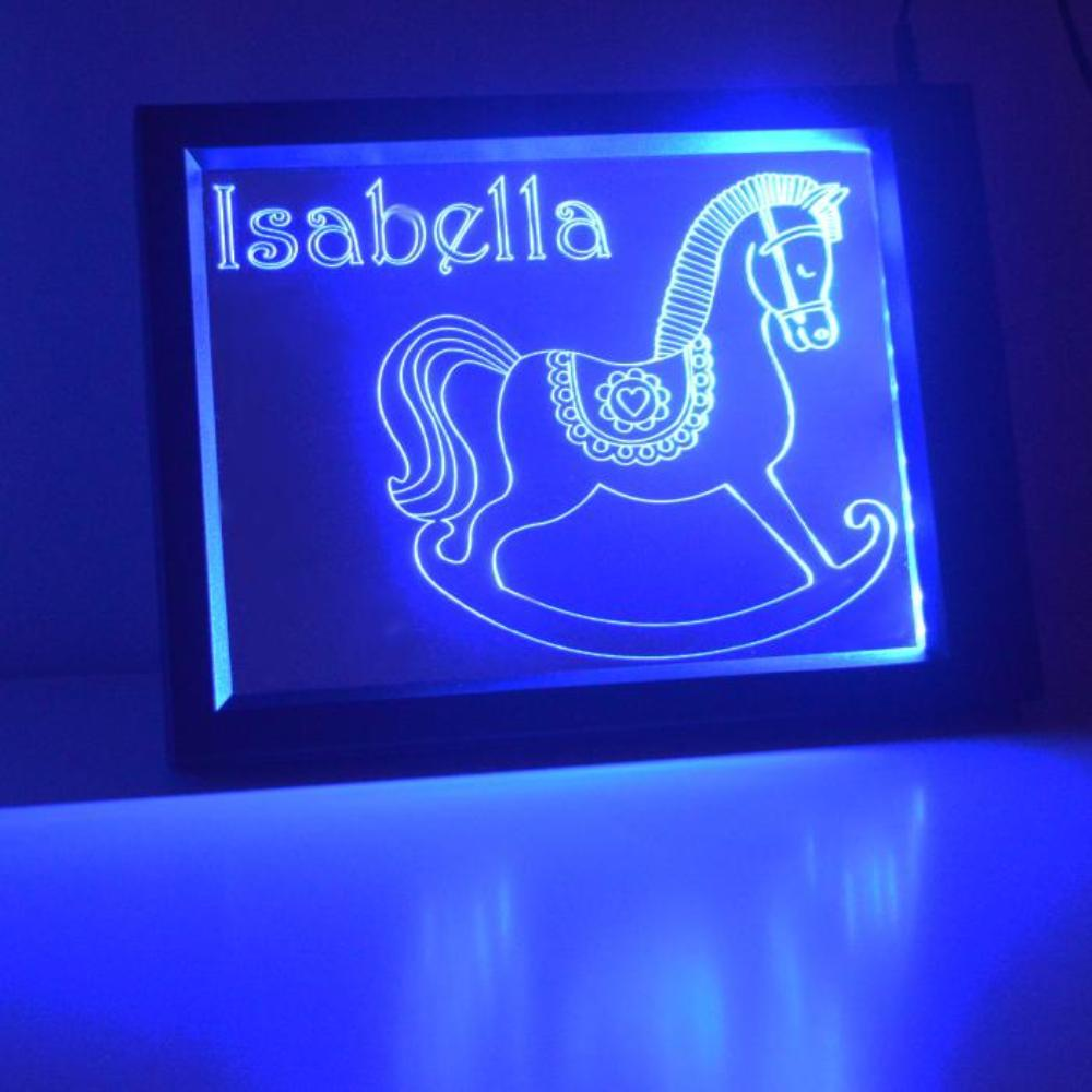 Personalised Rocking Horse Colour Changing RC LED Mirror Light Frame - Suave Petal