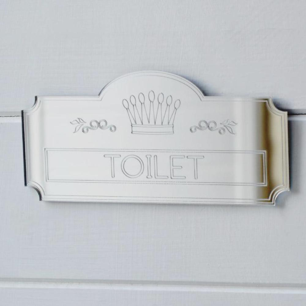 Crown Plaque Toilet Door Sign - Suave Petal
