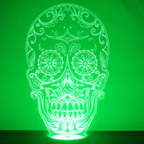 Day of the Dead Candy Skull LED Acrylic Light - Suave Petal