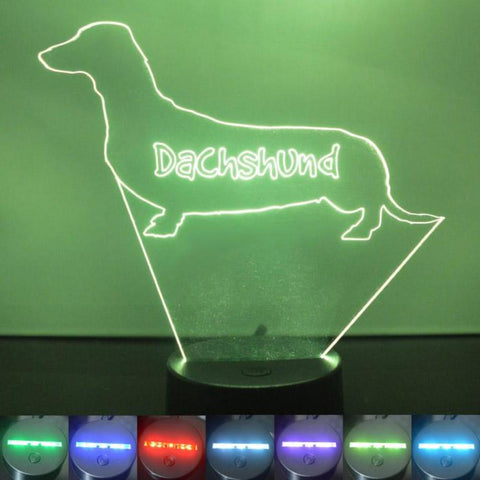 Dachshund Sausage Dog Colour Changing LED Acrylic Light - Suave Petal