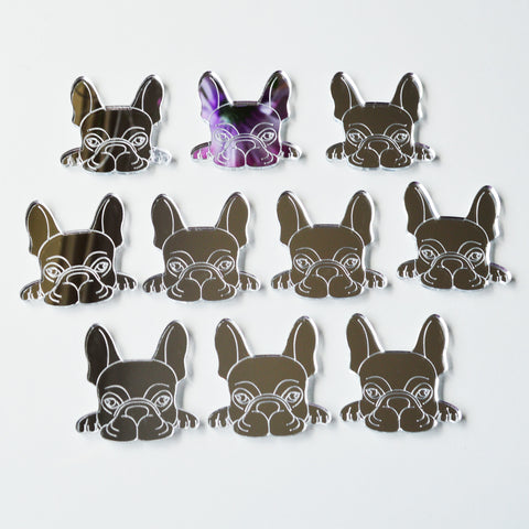 French Bulldog Cute Face Mini Craft Sized Acrylic Mirrors (10Pk)
