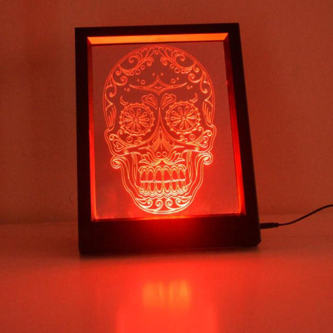 Day of the Dead Candy Skull Colour Changing RC LED Mirror Light Frame