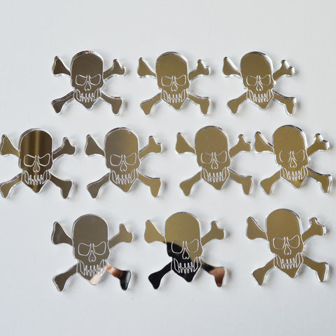 Pirate Skull and Crossbones Mini Craft Sized Acrylic Mirrors (10Pk) - Suave Petal