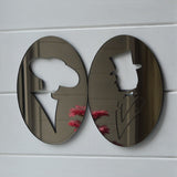 Vintage Look Oval Ladies and Gents Bronze Mirror Toilet Door Signs - Suave Petal
