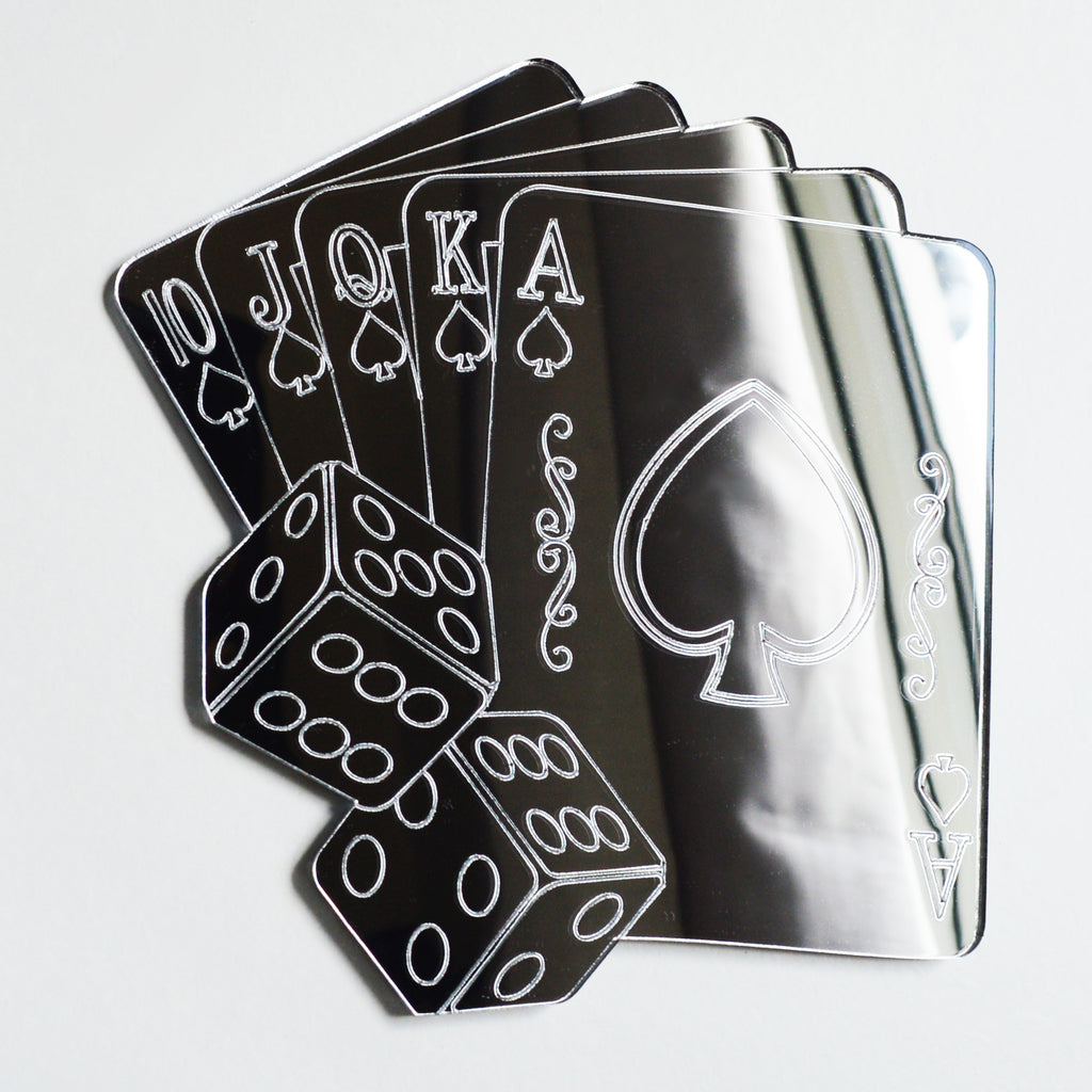 Poker Cards Royal Flush and Dice Acrylic Mirror - Suave Petal