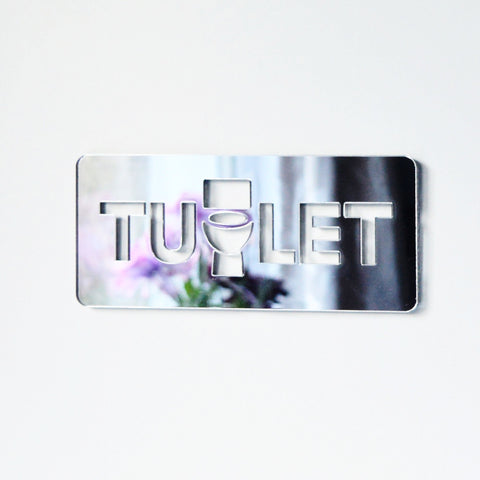 ALBANIAN AZERBAIJANI Toilet TUALET Unique Missing 'A' Acrylic Mirrored Door Sign - Suave Petal