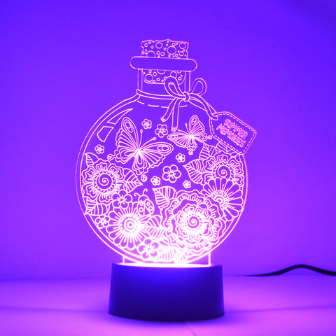 Summer Memories in a Bottle Colour Changing LED Mini Acrylic Light - Suave Petal