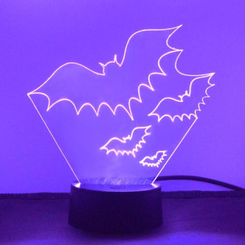 Group of Three Flying Bats LED Acrylic Light - Suave Petal