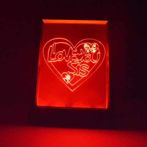 I Love You SIS Heart Colour Changing RC LED Mirror Light Frame - Suave Petal