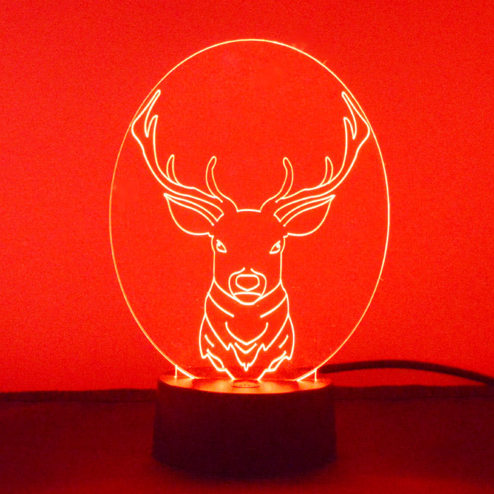 Stag Head Colour Changing LED Acrylic Light - Suave Petal