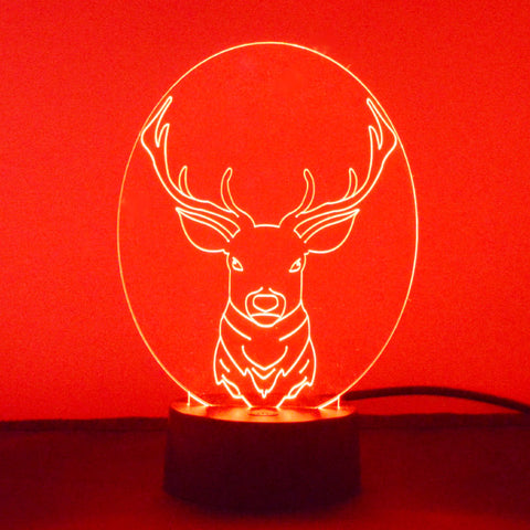 Stag Head Colour Changing LED Acrylic Light